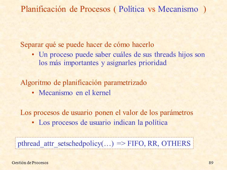Gestión de Procesos89 Separar qué se puede hacer de cómo hacerlo Un proceso puede saber cuáles de sus threads hijos son los más importantes y asignarles prioridad Algoritmo de planificación parametrizado Mecanismo en el kernel Los procesos de usuario ponen el valor de los parámetros Los procesos de usuario indican la política Planificación de Procesos ( Política vs Mecanismo ) pthread_attr_setschedpolicy(…) => FIFO, RR, OTHERS