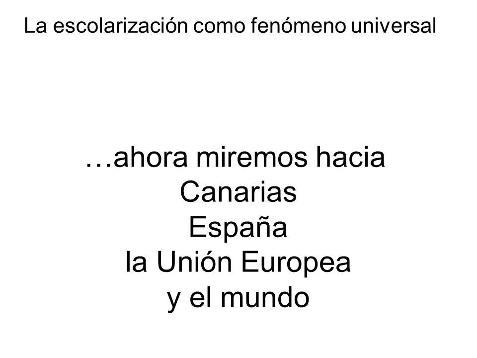 …ahora miremos hacia Canarias España la Unión Europea y el mundo La escolarización como fenómeno universal