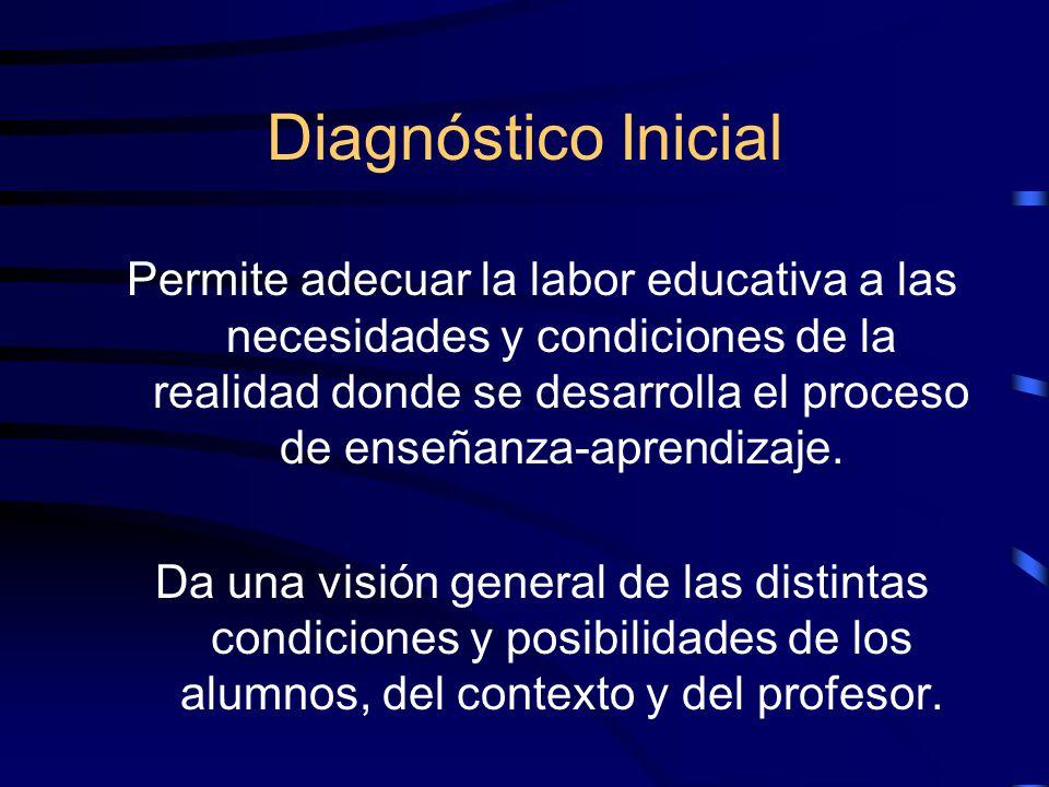 Diagnóstico Inicial Permite adecuar la labor educativa a las necesidades y condiciones de la realidad donde se desarrolla el proceso de enseñanza-aprendizaje.
