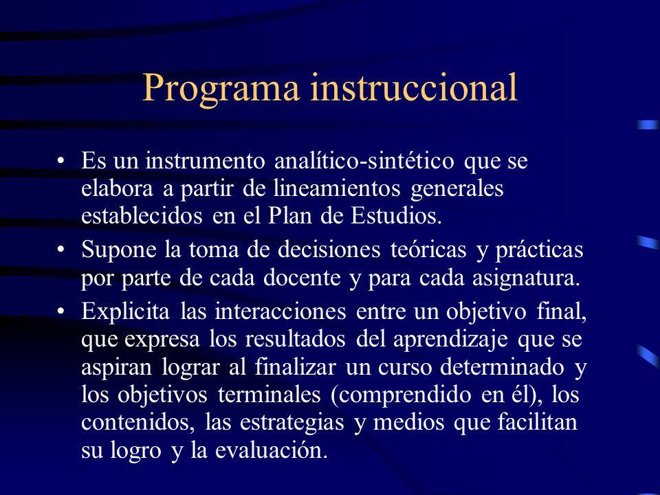 Programa instruccional Es un instrumento analítico-sintético que se elabora a partir de lineamientos generales establecidos en el Plan de Estudios.