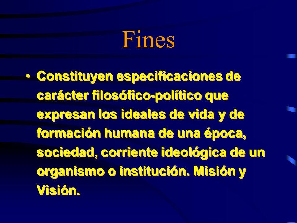 Fines Constituyen especificaciones de carácter filosófico-político que expresan los ideales de vida y de formación humana de una época, sociedad, corriente ideológica de un organismo o institución.