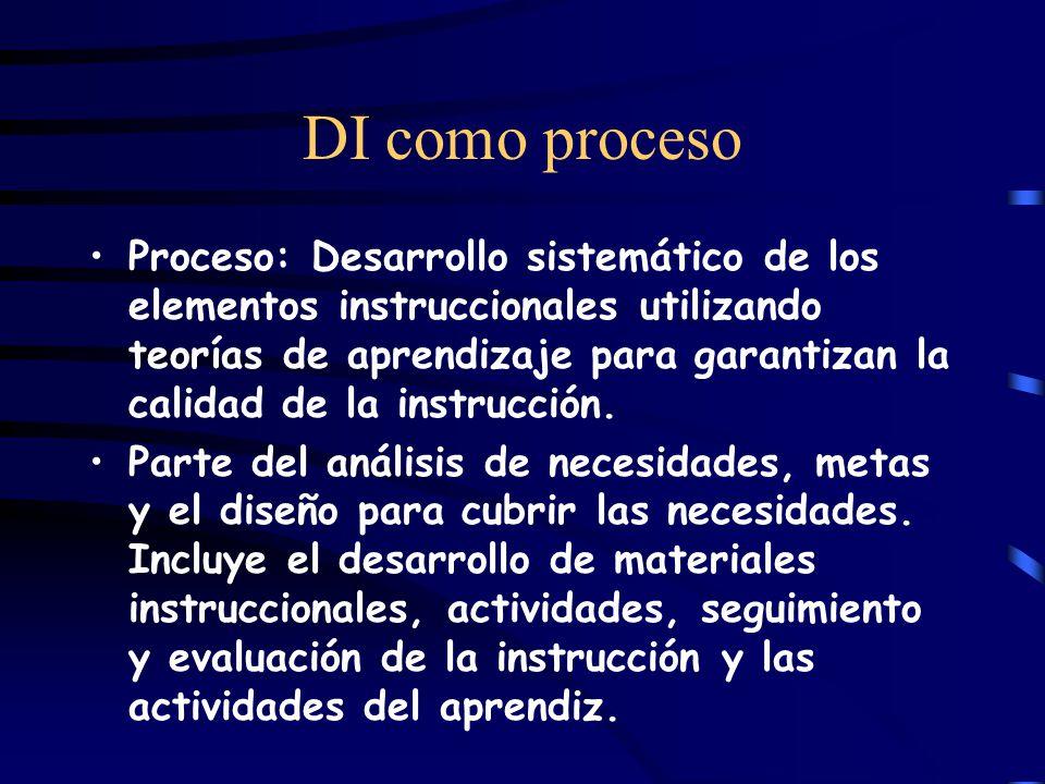 DI como proceso Proceso: Desarrollo sistemático de los elementos instruccionales utilizando teorías de aprendizaje para garantizan la calidad de la instrucción.