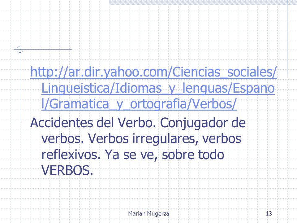 Marian Mugerza13 http://ar.dir.yahoo.com/Ciencias_sociales/ Lingueistica/Idiomas_y_lenguas/Espano l/Gramatica_y_ortografia/Verbos/ Accidentes del Verbo.
