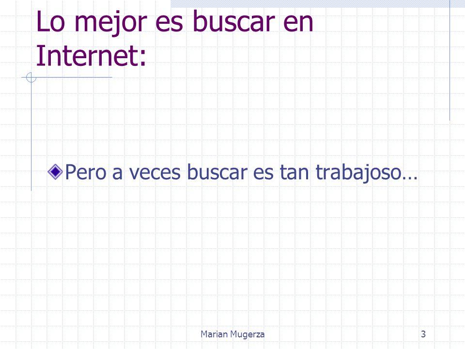 Marian Mugerza3 Lo mejor es buscar en Internet: Pero a veces buscar es tan trabajoso…