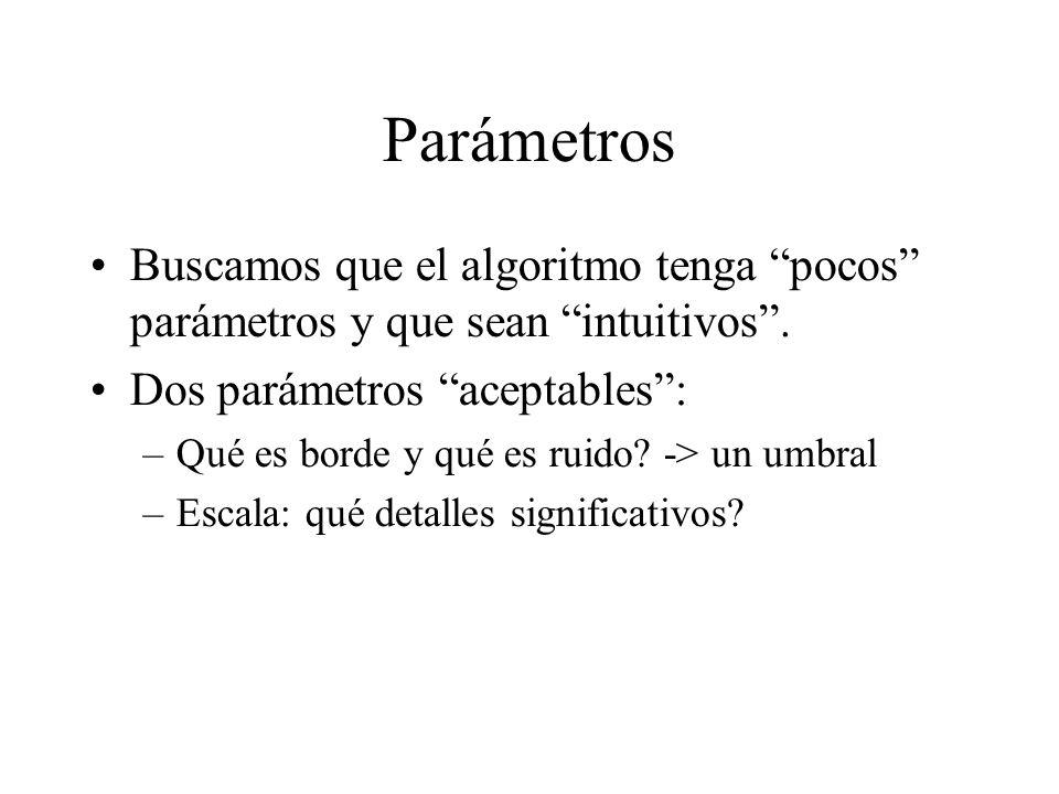 Parámetros Buscamos que el algoritmo tenga pocos parámetros y que sean intuitivos .