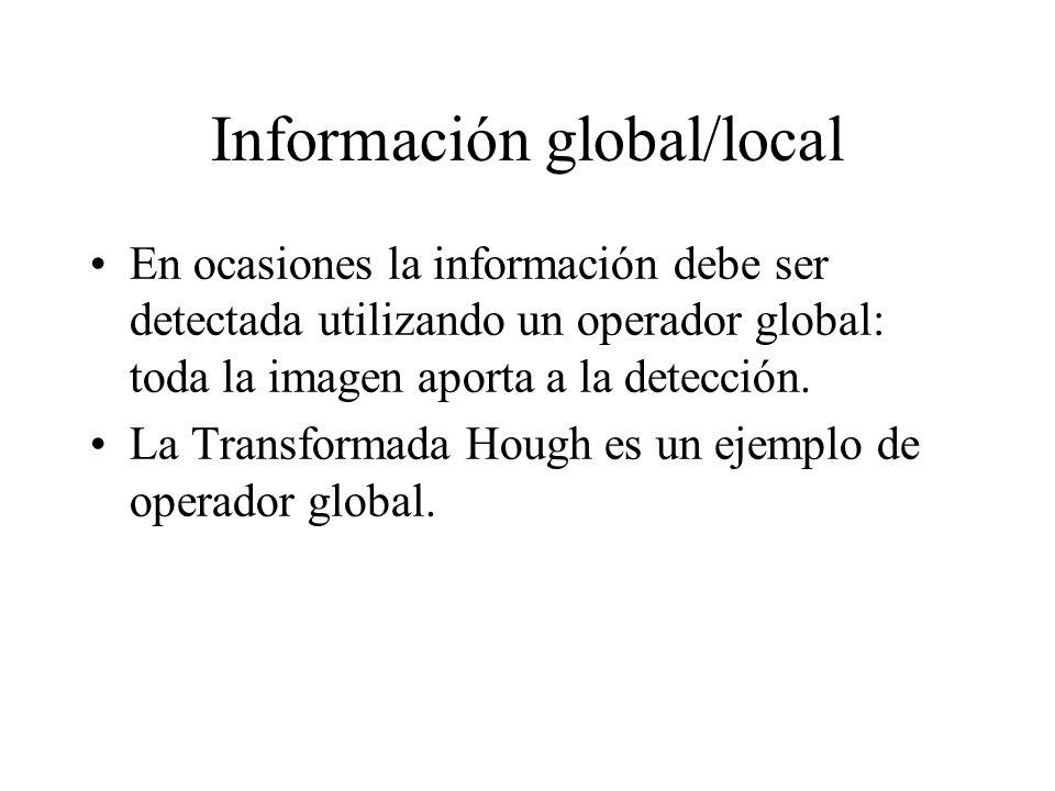 Información global/local En ocasiones la información debe ser detectada utilizando un operador global: toda la imagen aporta a la detección.