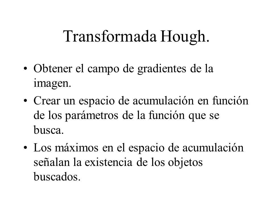 Transformada Hough. Obtener el campo de gradientes de la imagen.