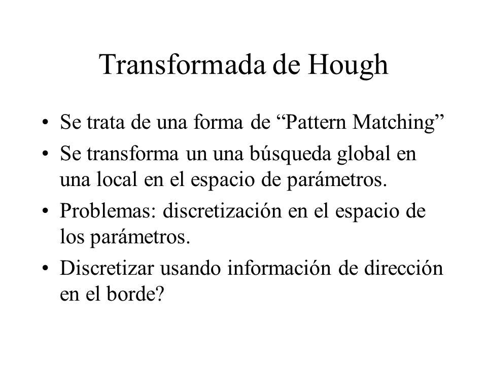 Transformada de Hough Se trata de una forma de Pattern Matching Se transforma un una búsqueda global en una local en el espacio de parámetros.