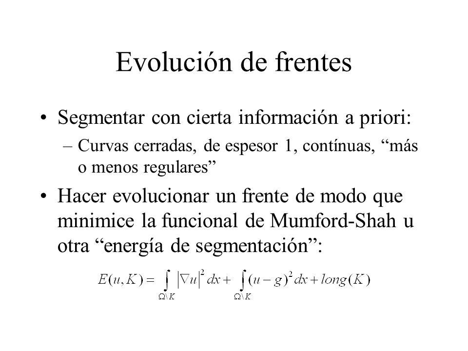 Evolución de frentes Segmentar con cierta información a priori: –Curvas cerradas, de espesor 1, contínuas, más o menos regulares Hacer evolucionar un frente de modo que minimice la funcional de Mumford-Shah u otra energía de segmentación :