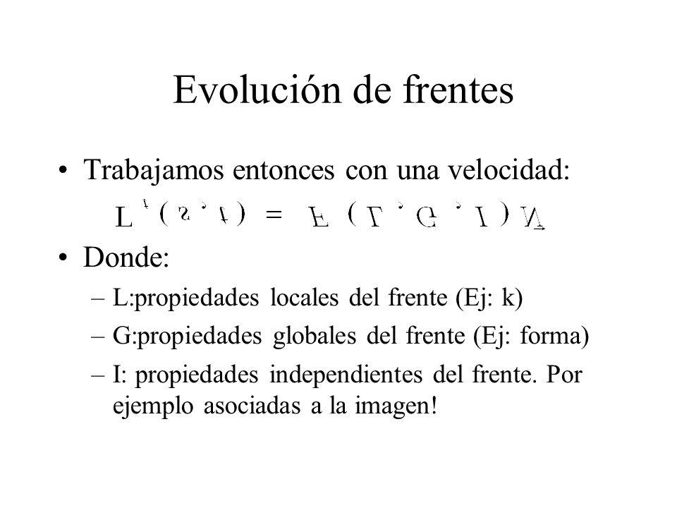 Evolución de frentes Trabajamos entonces con una velocidad: Donde: –L:propiedades locales del frente (Ej: k) –G:propiedades globales del frente (Ej: forma) –I: propiedades independientes del frente.