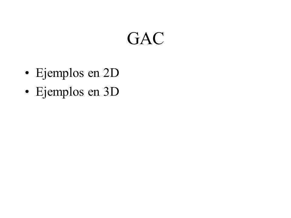 GAC Ejemplos en 2D Ejemplos en 3D