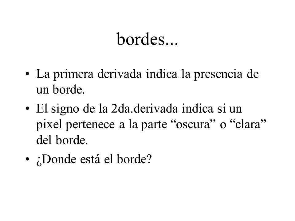 bordes... La primera derivada indica la presencia de un borde.