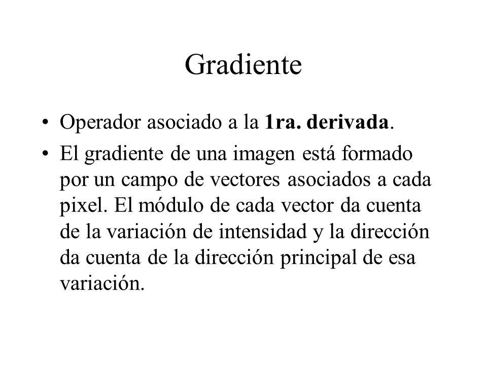 Gradiente Operador asociado a la 1ra. derivada.