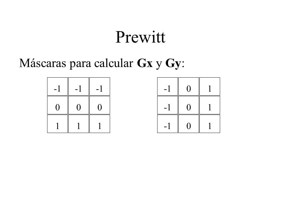 Prewitt Máscaras para calcular Gx y Gy: 0 1 0 1 0 1 0 0 0 1 1 1