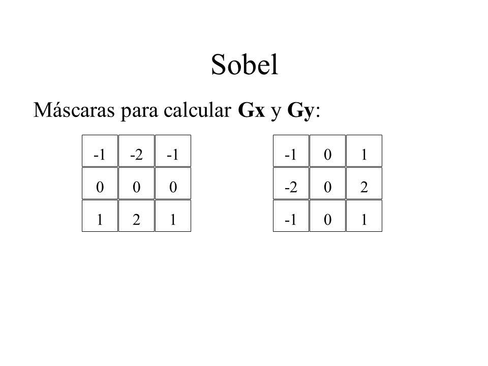 Sobel Máscaras para calcular Gx y Gy: 0 1 -2 0 2 0 1 -2 0 0 0 1 2 1