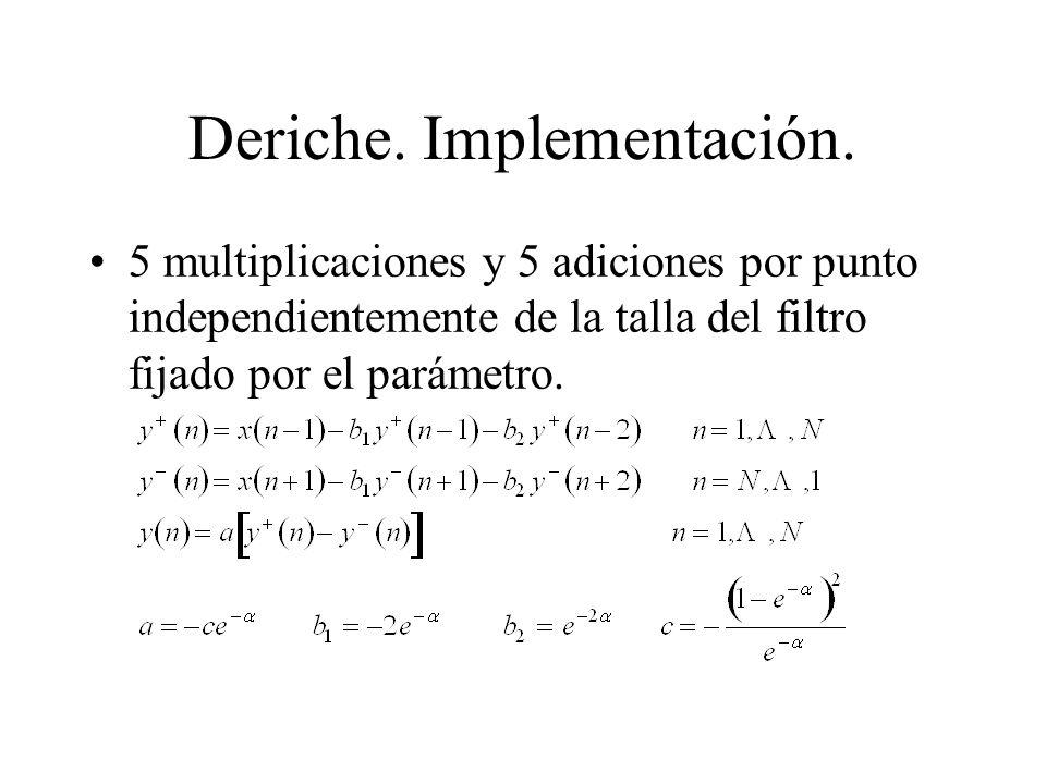 Deriche. Implementación.