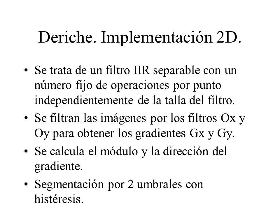 Deriche. Implementación 2D.