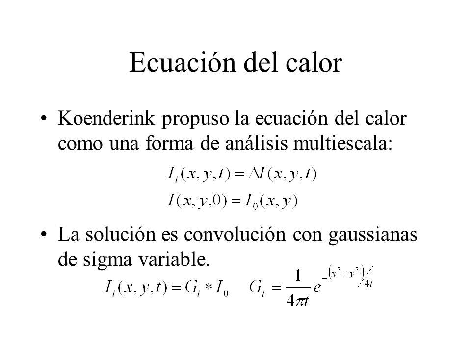 Ecuación del calor Koenderink propuso la ecuación del calor como una forma de análisis multiescala: La solución es convolución con gaussianas de sigma variable.