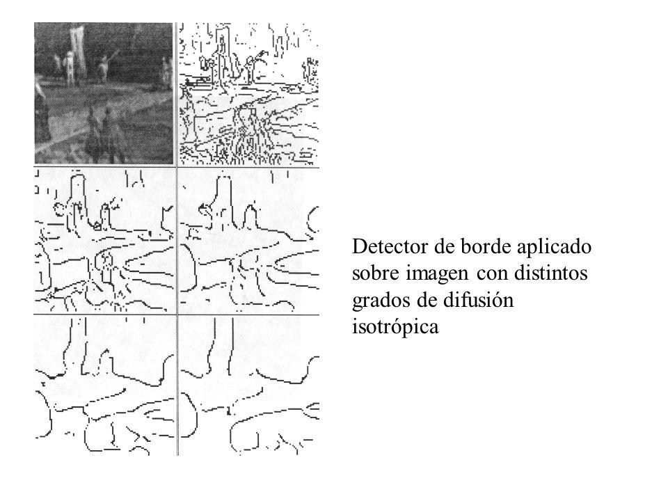 Detector de borde aplicado sobre imagen con distintos grados de difusión isotrópica