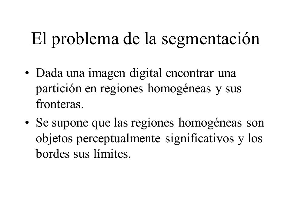 El problema de la segmentación Dada una imagen digital encontrar una partición en regiones homogéneas y sus fronteras.