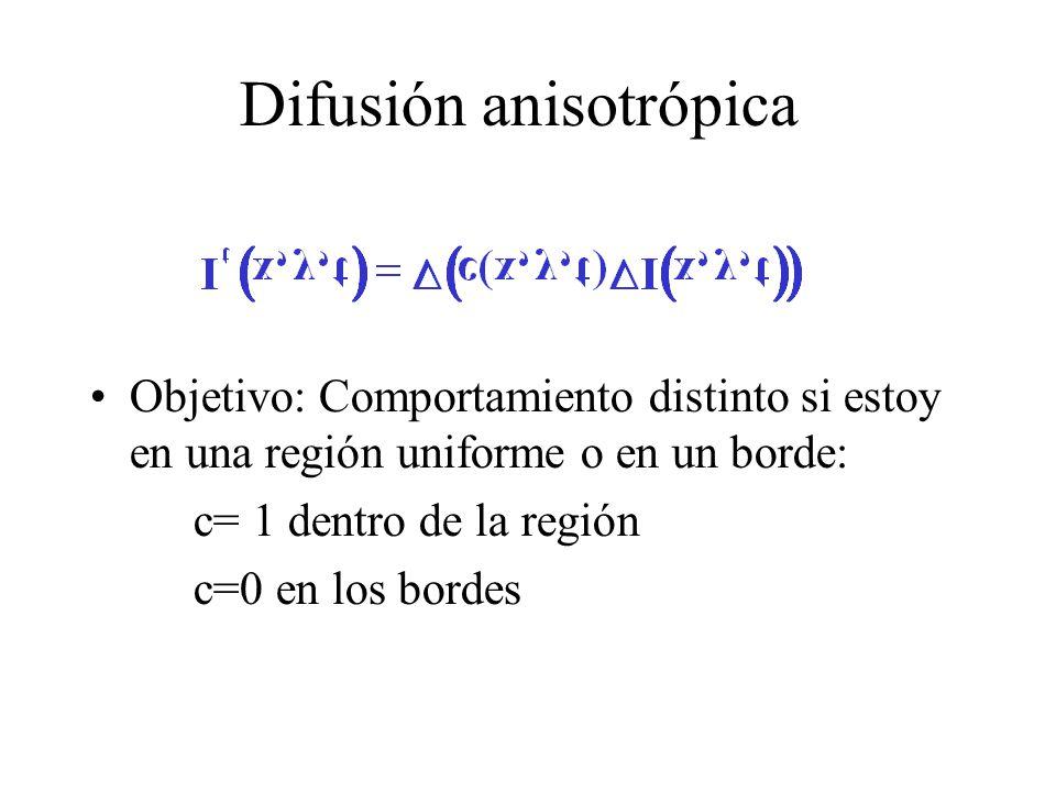Difusión anisotrópica Objetivo: Comportamiento distinto si estoy en una región uniforme o en un borde: c= 1 dentro de la región c=0 en los bordes