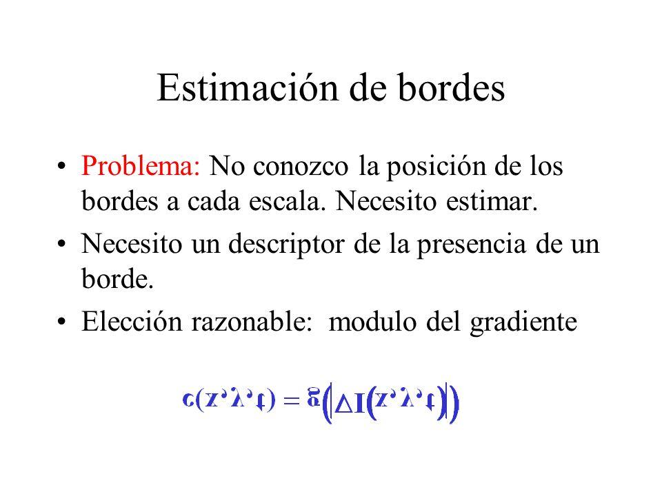 Estimación de bordes Problema: No conozco la posición de los bordes a cada escala.