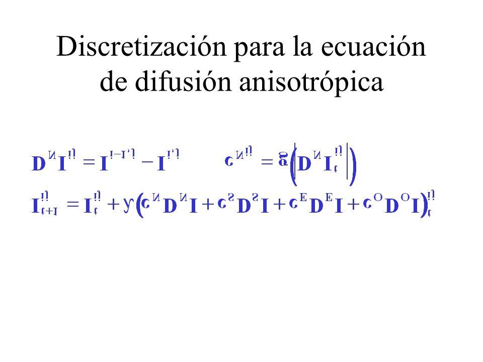 Discretización para la ecuación de difusión anisotrópica