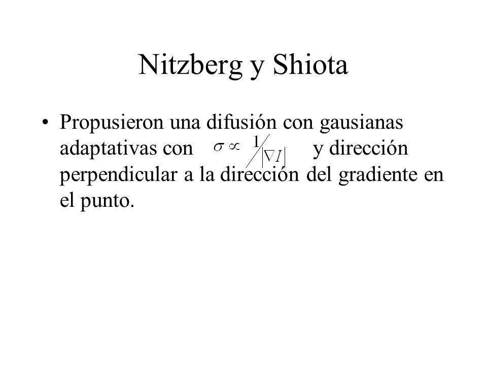 Nitzberg y Shiota Propusieron una difusión con gausianas adaptativas con y dirección perpendicular a la dirección del gradiente en el punto.