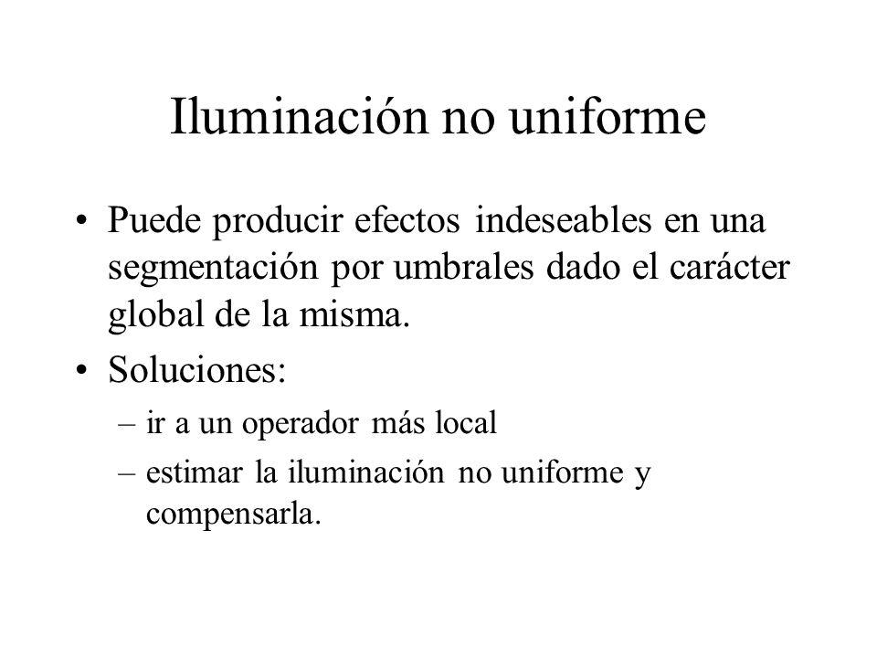 Iluminación no uniforme Puede producir efectos indeseables en una segmentación por umbrales dado el carácter global de la misma.