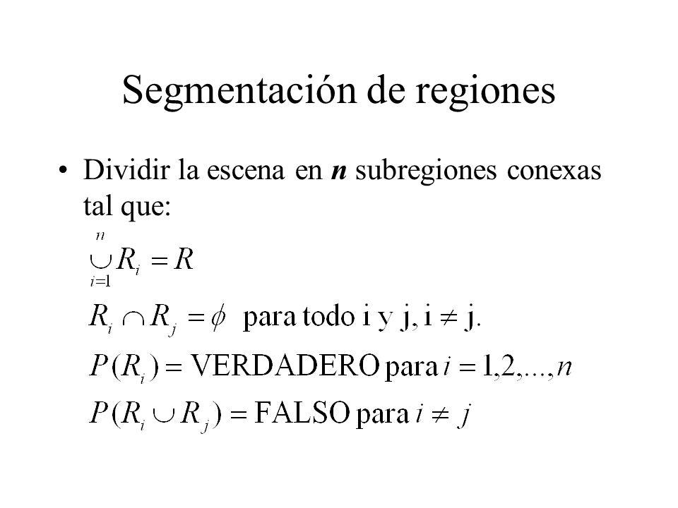 Segmentación de regiones Dividir la escena en n subregiones conexas tal que: