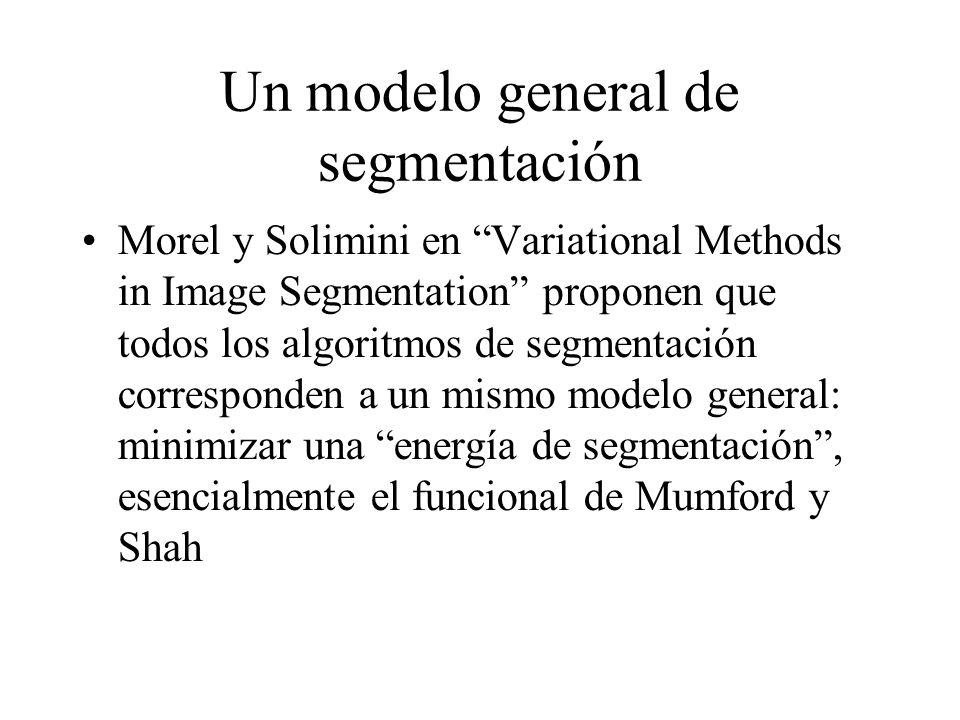 Un modelo general de segmentación Morel y Solimini en Variational Methods in Image Segmentation proponen que todos los algoritmos de segmentación corresponden a un mismo modelo general: minimizar una energía de segmentación , esencialmente el funcional de Mumford y Shah
