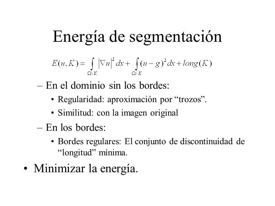 Energía de segmentación –En el dominio sin los bordes: Regularidad: aproximación por trozos .