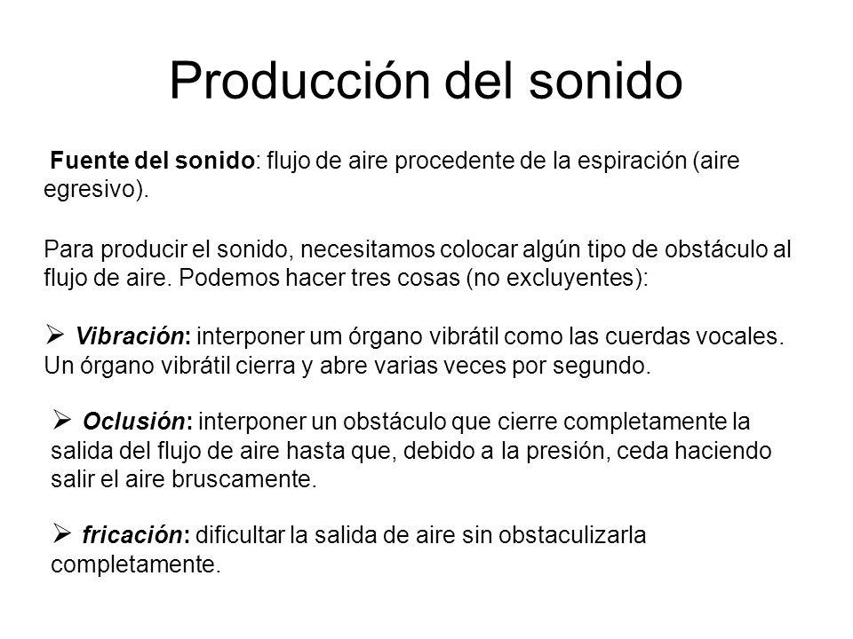 Producción del sonido Fuente del sonido: flujo de aire procedente de la espiración (aire egresivo).
