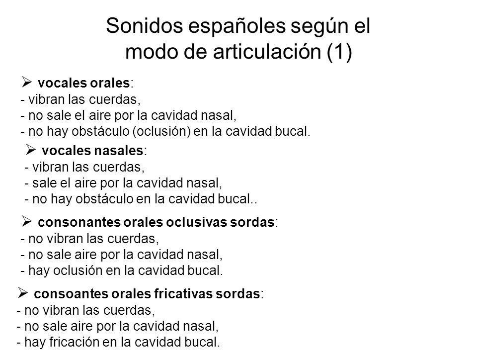 Sonidos españoles según el modo de articulación (1)  vocales orales: - vibran las cuerdas, - no sale el aire por la cavidad nasal, - no hay obstáculo (oclusión) en la cavidad bucal.