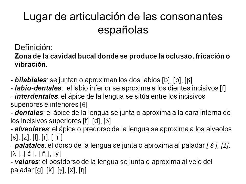 Lugar de articulación de las consonantes españolas Definición: Zona de la cavidad bucal donde se produce la oclusão, fricación o vibración.