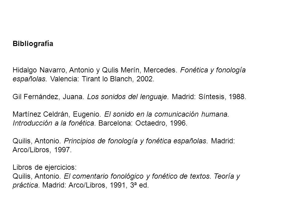 Bibliografía Hidalgo Navarro, Antonio y Qulis Merín, Mercedes.