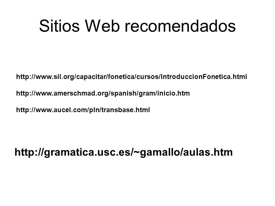 Sitios Web recomendados http://www.sil.org/capacitar/fonetica/cursos/IntroduccionFonetica.html http://www.amerschmad.org/spanish/gram/inicio.htm http://www.aucel.com/pln/transbase.html http://gramatica.usc.es/~gamallo/aulas.htm