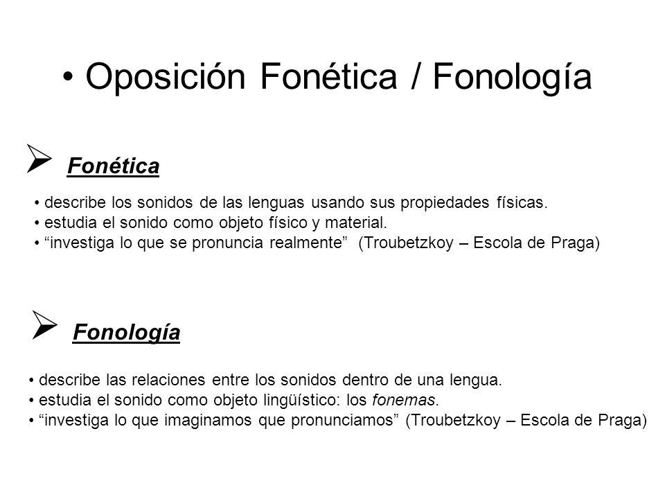 Oposición Fonética / Fonología  Fonética describe los sonidos de las lenguas usando sus propiedades físicas.