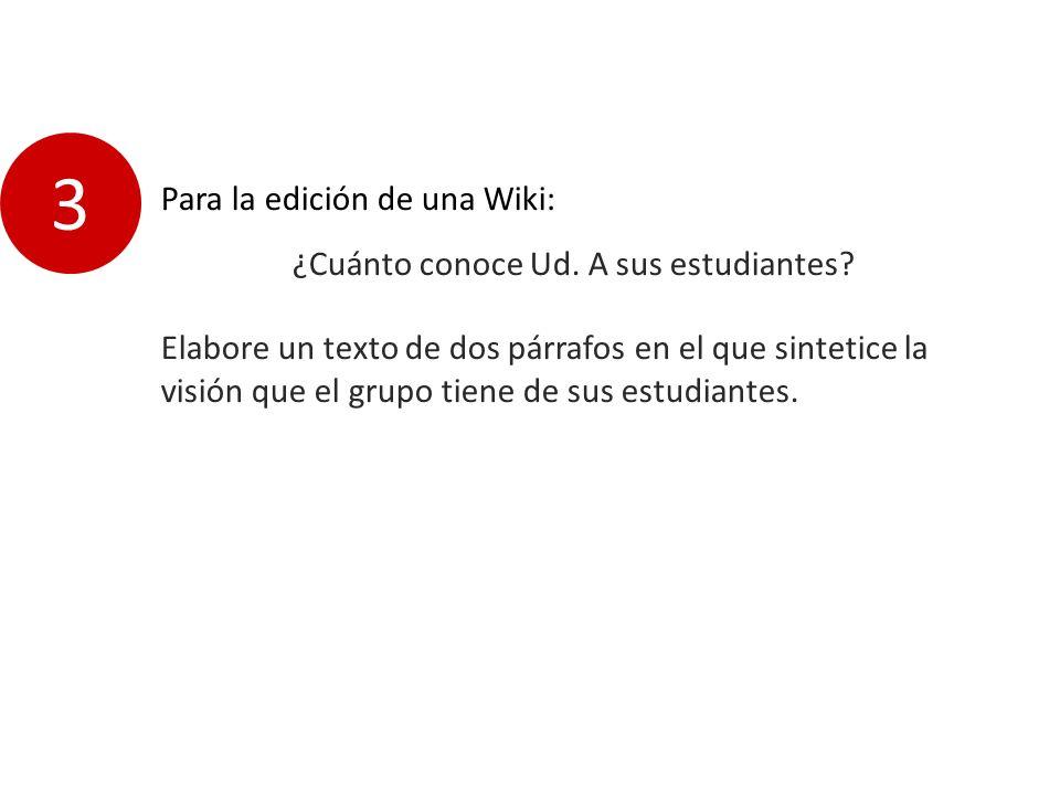 Para la edición de una Wiki: ¿Cuánto conoce Ud. A sus estudiantes.