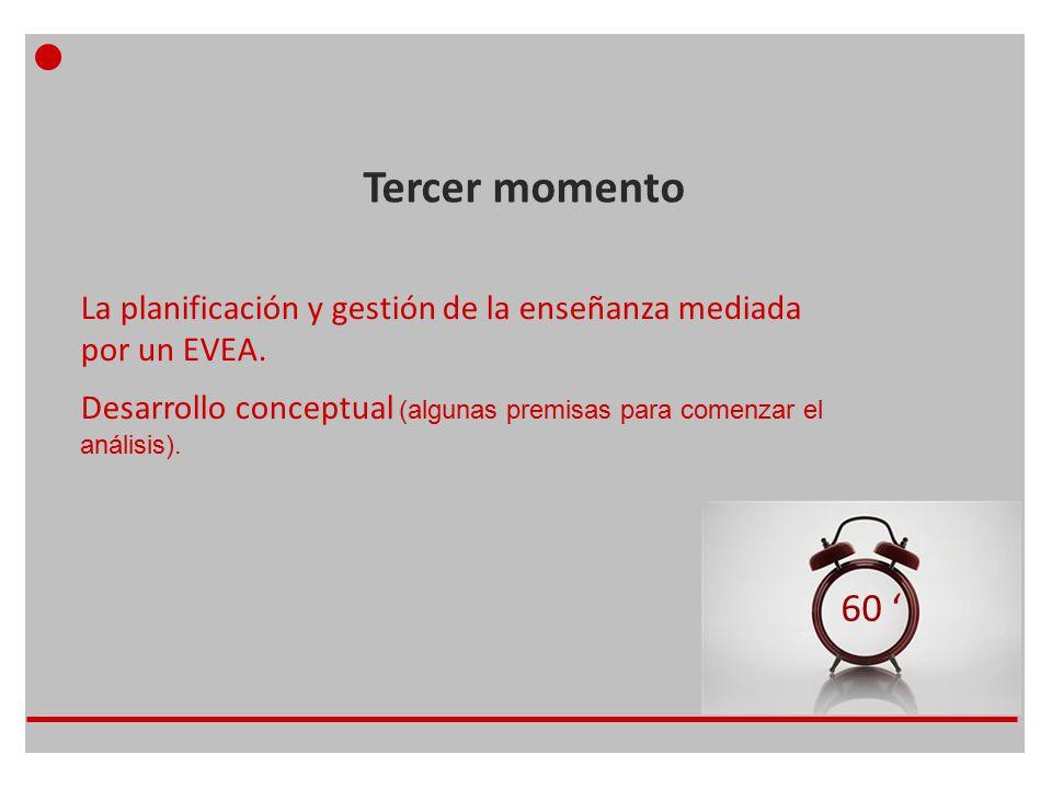 Tercer momento 60 ' La planificación y gestión de la enseñanza mediada por un EVEA.