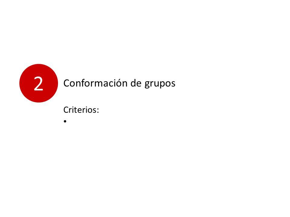 2 Conformación de grupos Criterios: D i s c i p l i n a s a f i n e s.