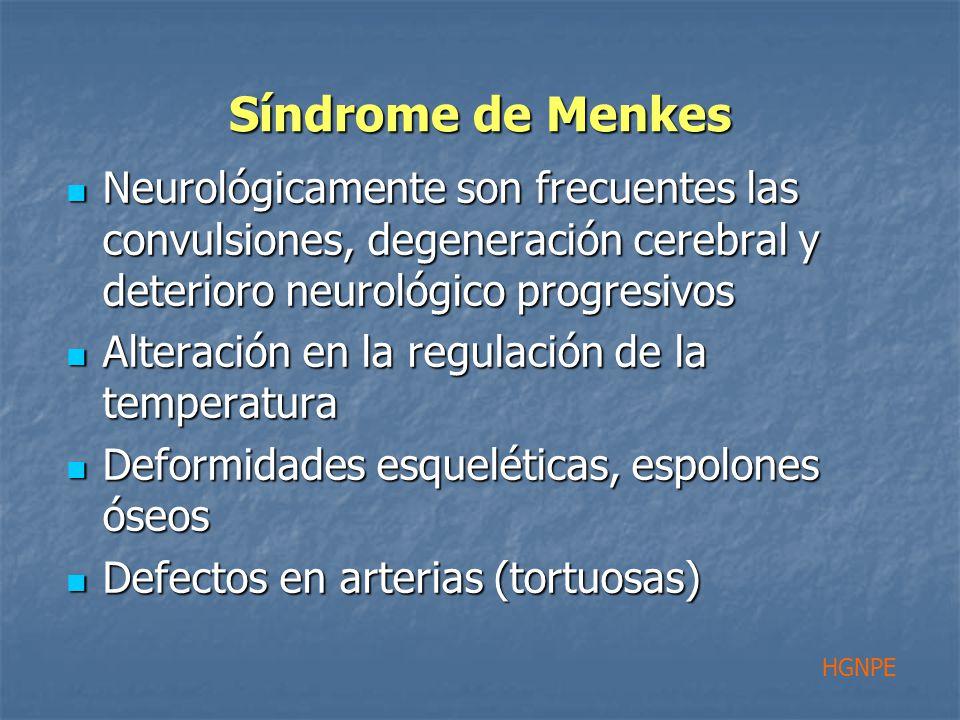 Síndrome de Menkes Neurológicamente son frecuentes las convulsiones, degeneración cerebral y deterioro neurológico progresivos Neurológicamente son frecuentes las convulsiones, degeneración cerebral y deterioro neurológico progresivos Alteración en la regulación de la temperatura Alteración en la regulación de la temperatura Deformidades esqueléticas, espolones óseos Deformidades esqueléticas, espolones óseos Defectos en arterias (tortuosas) Defectos en arterias (tortuosas) HGNPE