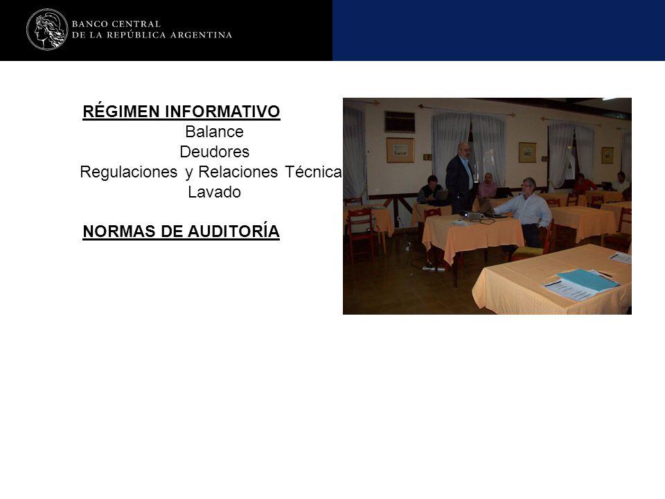 RÉGIMEN INFORMATIVO Balance Deudores Regulaciones y Relaciones Técnicas Lavado NORMAS DE AUDITORÍA