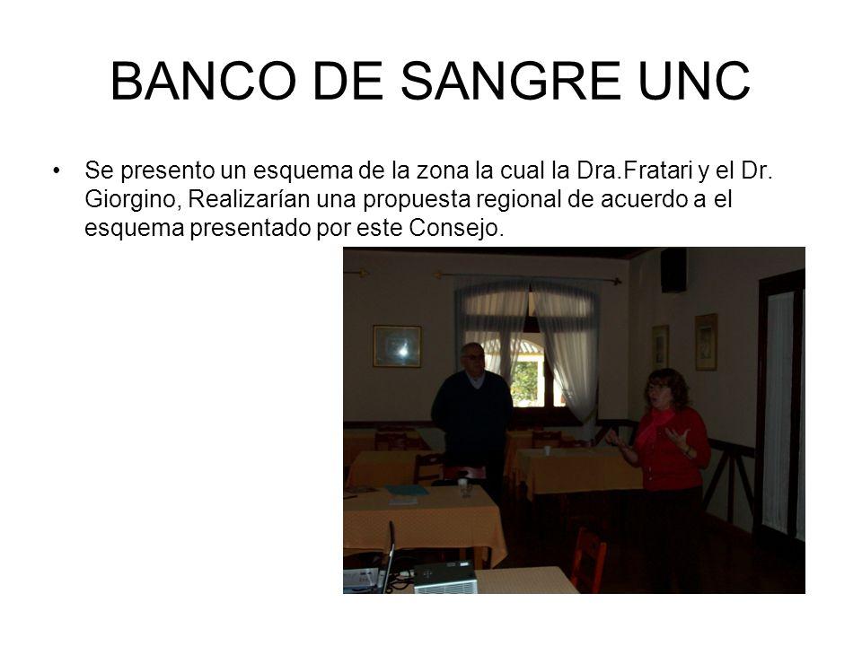 BANCO DE SANGRE UNC Se presento un esquema de la zona la cual la Dra.Fratari y el Dr.