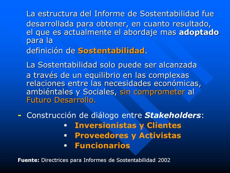 La estructura del Informe de Sostentabilidad fue desarrollada para obtener, en cuanto resultado, el que es actualmente el abordaje mas adoptado para la definición de Sostentabilidad.