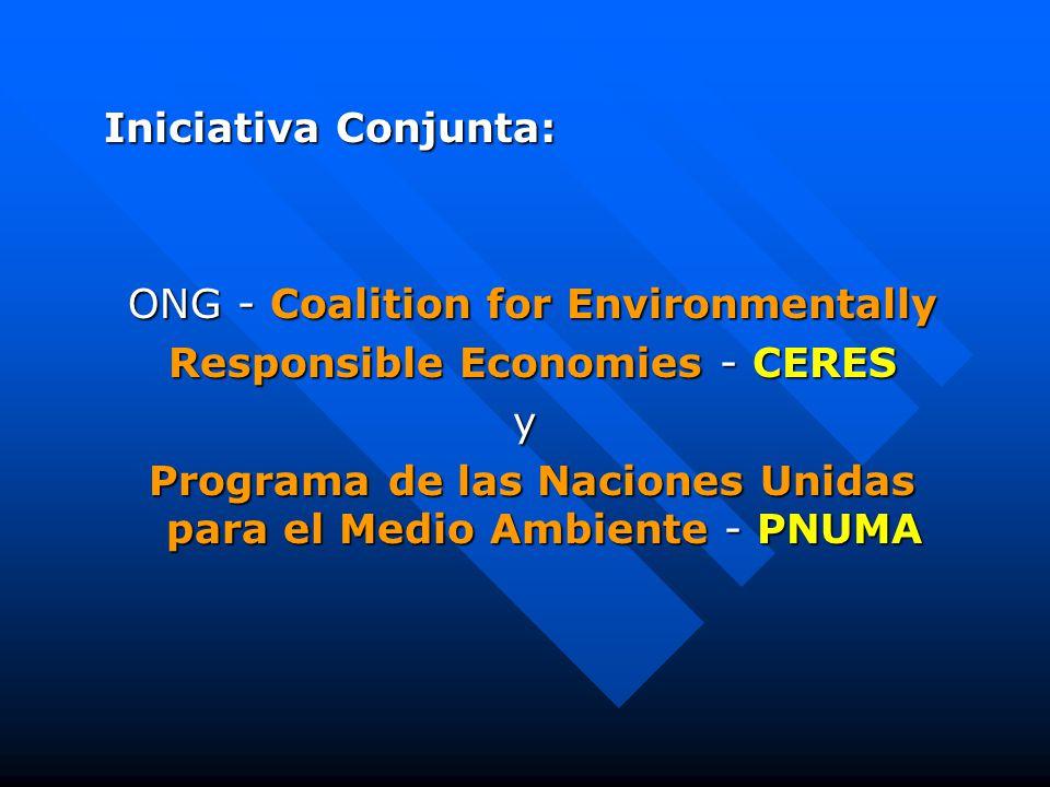 Iniciativa Conjunta: Iniciativa Conjunta: ONG - Coalition for Environmentally ONG - Coalition for Environmentally Responsible Economies - CERES Responsible Economies - CERESy Programa de las Naciones Unidas para el Medio Ambiente - PNUMA Programa de las Naciones Unidas para el Medio Ambiente - PNUMA