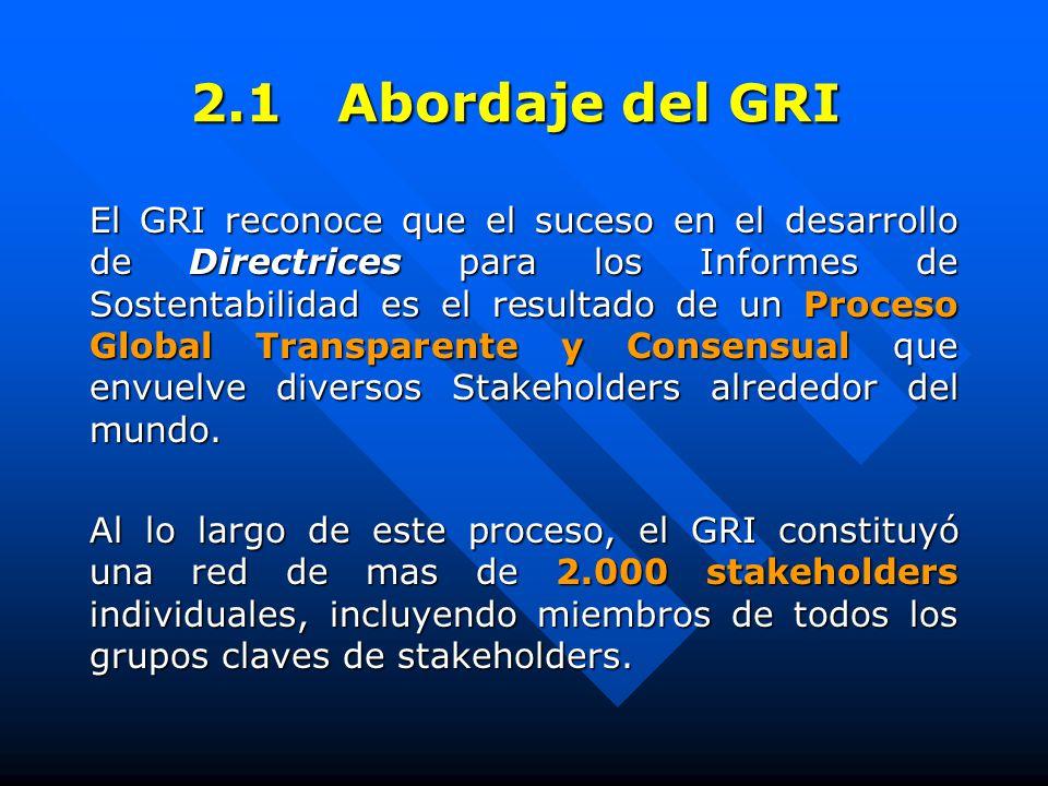 2.1 Abordaje del GRI El GRI reconoce que el suceso en el desarrollo de Directrices para los Informes de Sostentabilidad es el resultado de un Proceso Global Transparente y Consensual que envuelve diversos Stakeholders alrededor del mundo.