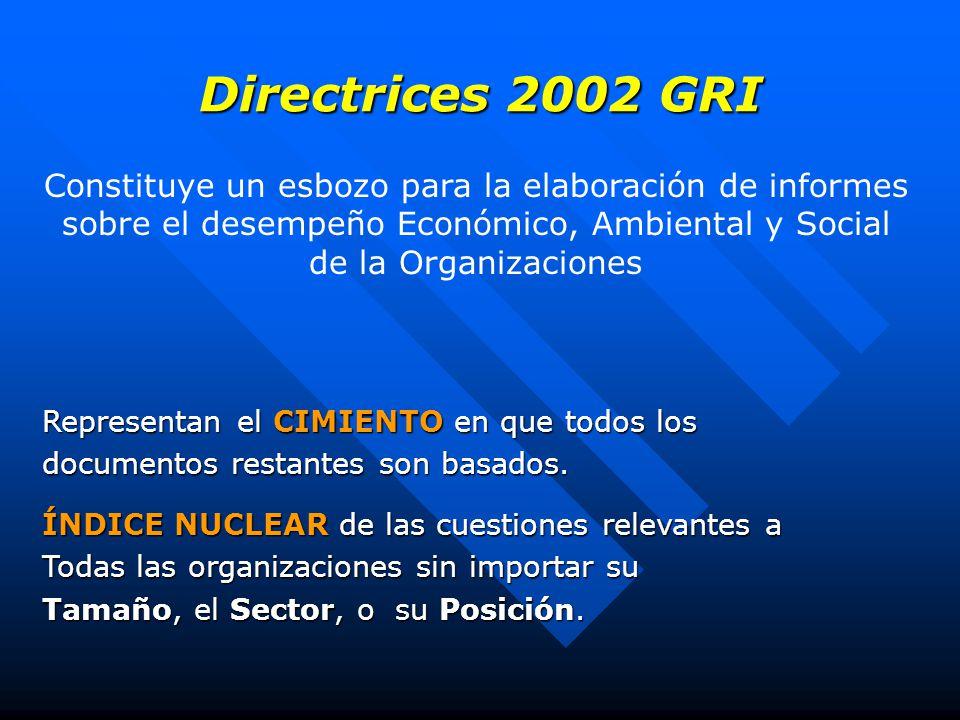 Directrices 2002 GRI Constituye un esbozo para la elaboración de informes sobre el desempeño Económico, Ambiental y Social de la Organizaciones Representan el CIMIENTO en que todos los documentos restantes son basados.