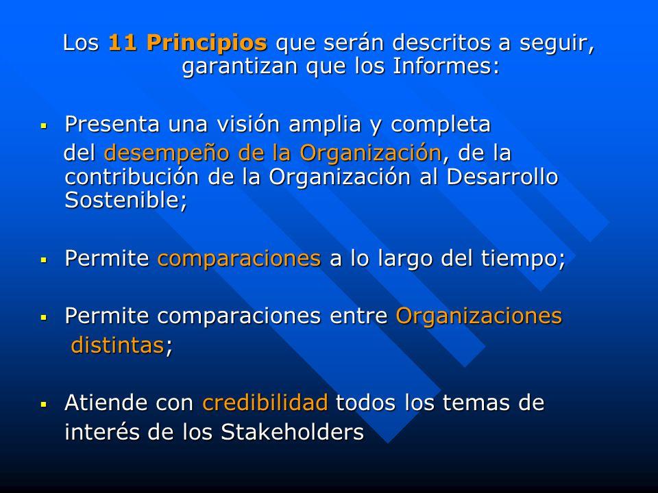 Los 11 Principios que serán descritos a seguir, garantizan que los Informes:  Presenta una visión amplia y completa del desempeño de la Organización, de la contribución de la Organización al Desarrollo Sostenible; del desempeño de la Organización, de la contribución de la Organización al Desarrollo Sostenible;  Permite comparaciones a lo largo del tiempo;  Permite comparaciones entre Organizaciones distintas; distintas;  Atiende con credibilidad todos los temas de interés de los Stakeholders