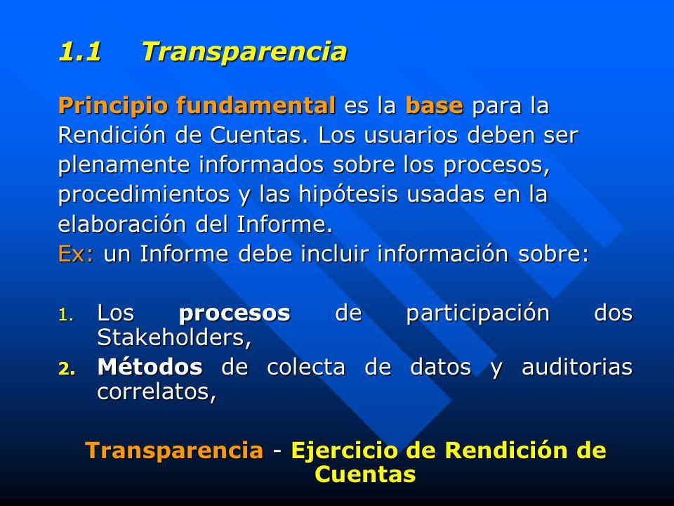 1.1 Transparencia Principio fundamental es la base para la Rendición de Cuentas.
